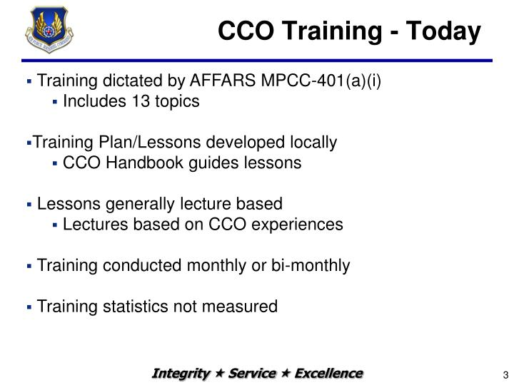 Cco training today