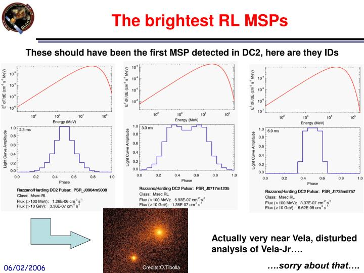 The brightest RL MSPs