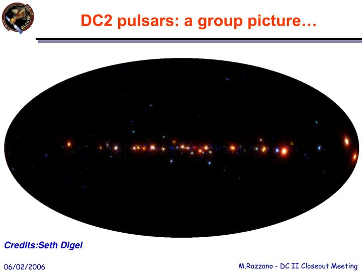 DC2 pulsars: a group picture…