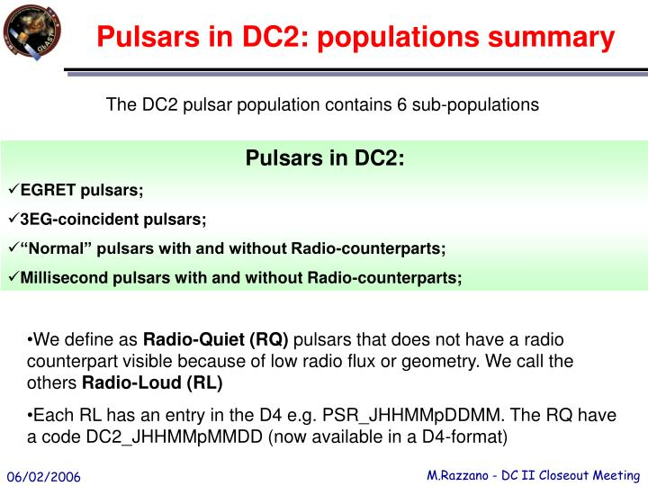 Pulsars in DC2: populations summary