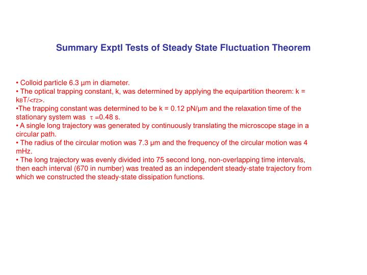 Summary Exptl Tests of Steady State Fluctuation Theorem
