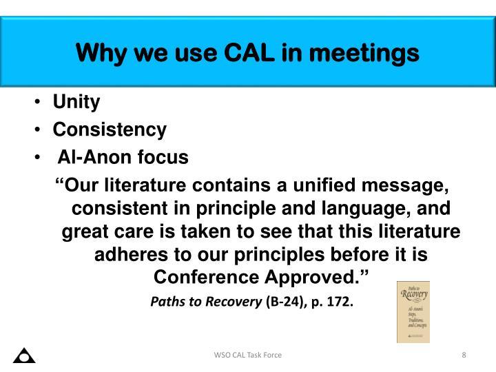 Why we use CAL in meetings