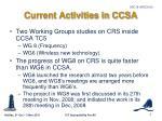 current activities in ccsa