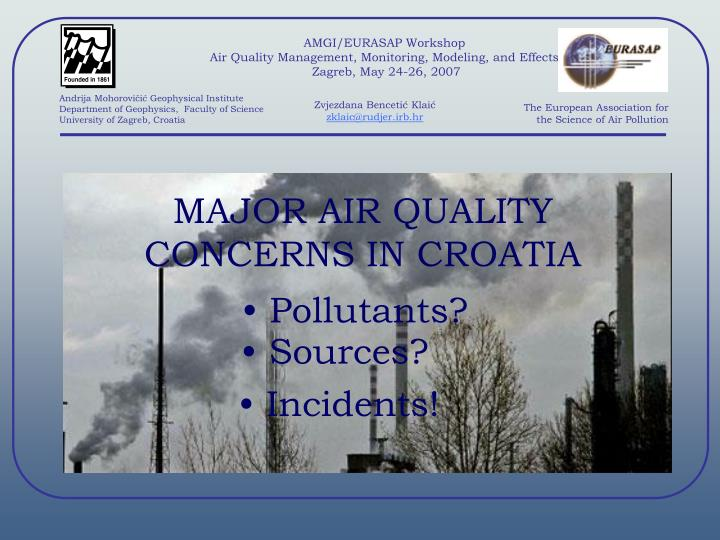 Amgi eurasap workshop air quality management monitoring modeling and effects zagreb may 24 26 2007