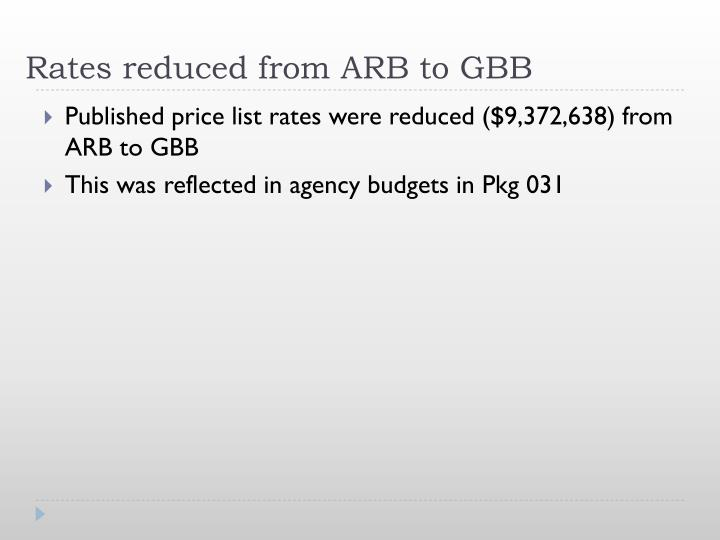 Rates reduced from ARB to GBB