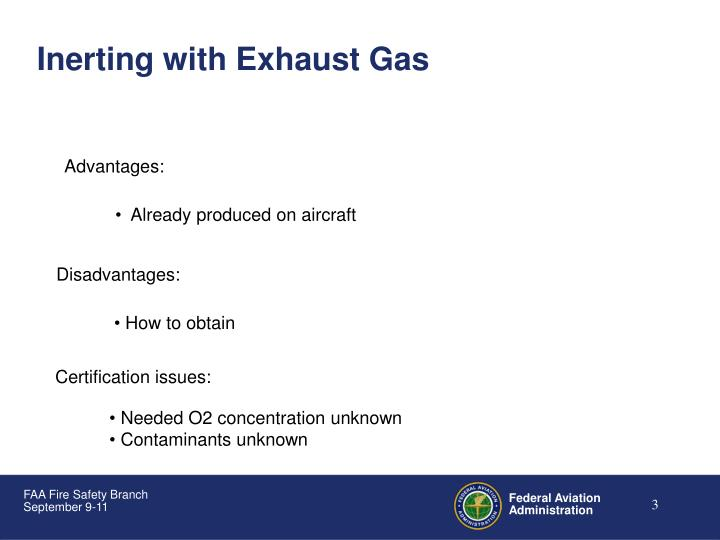 Inerting with Exhaust Gas
