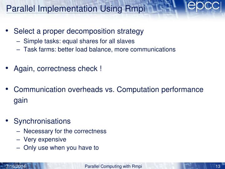 Parallel Implementation Using Rmpi