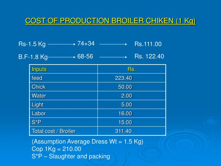 COST OF PRODUCTION BROILER CHIKEN (1 Kg)