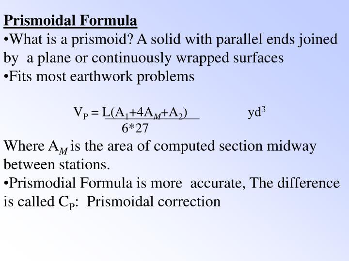 Prismoidal Formula