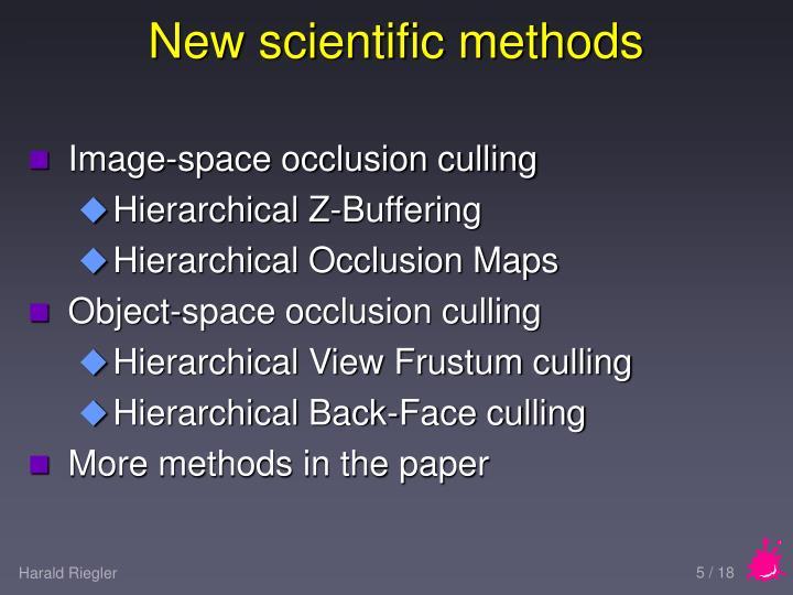 New scientific methods