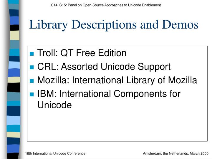 Library Descriptions and Demos