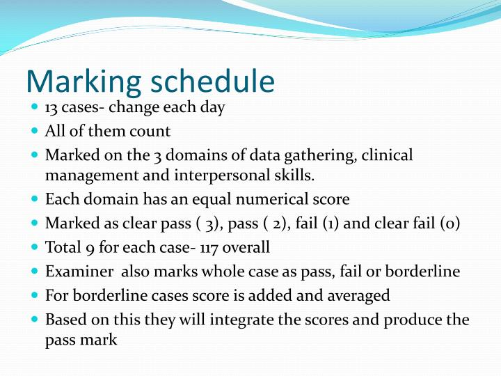 Marking schedule