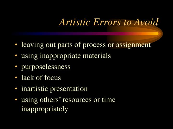 Artistic Errors to Avoid