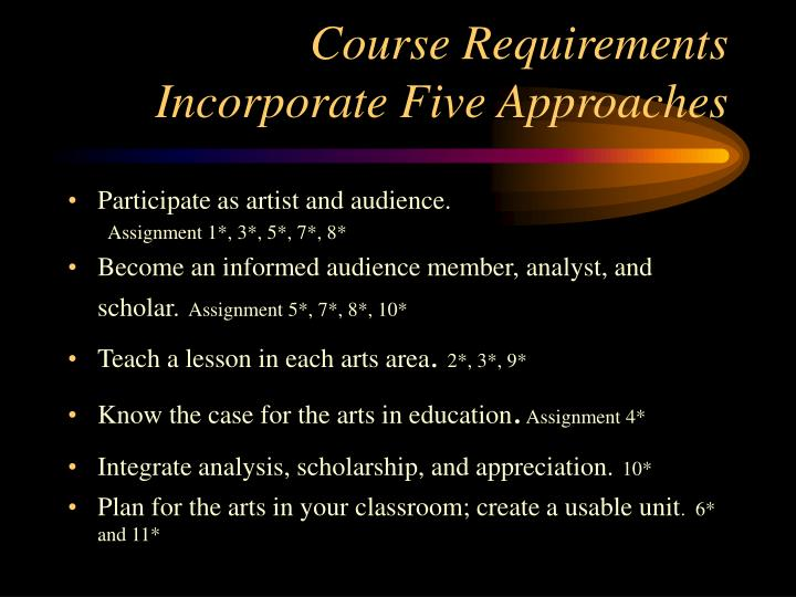 Course Requirements Incorporate Five Approaches