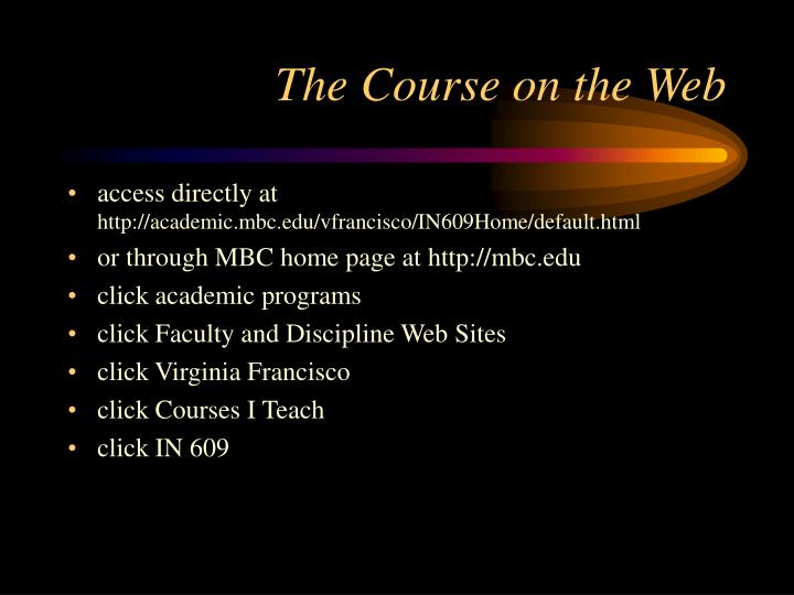 The Course on the Web