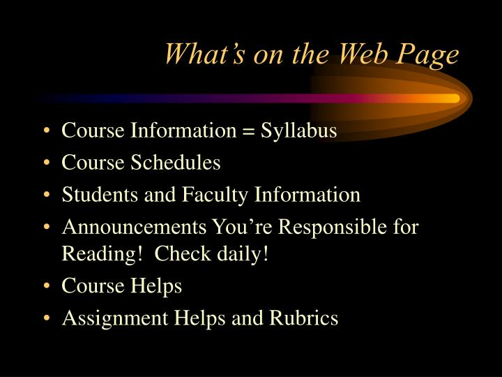 What's on the Web Page