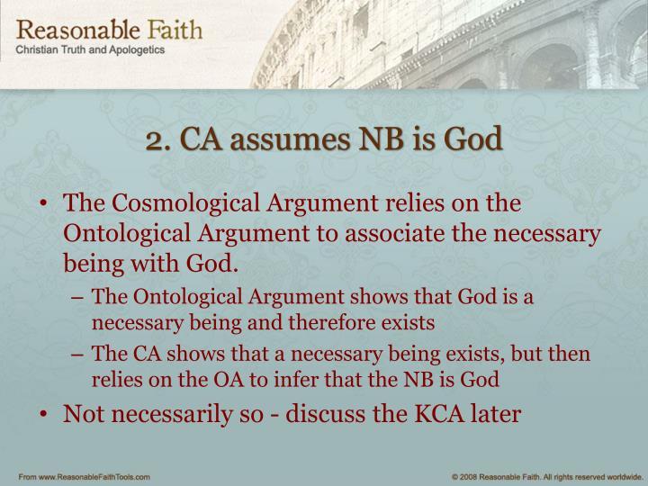 2. CA assumes NB is God