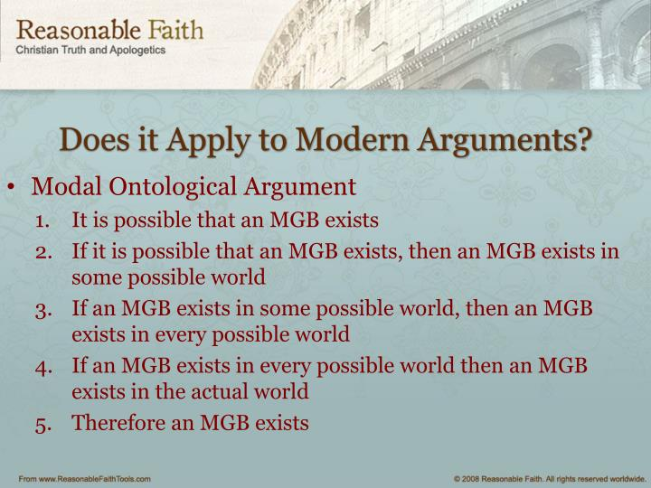 Does it Apply to Modern Arguments?