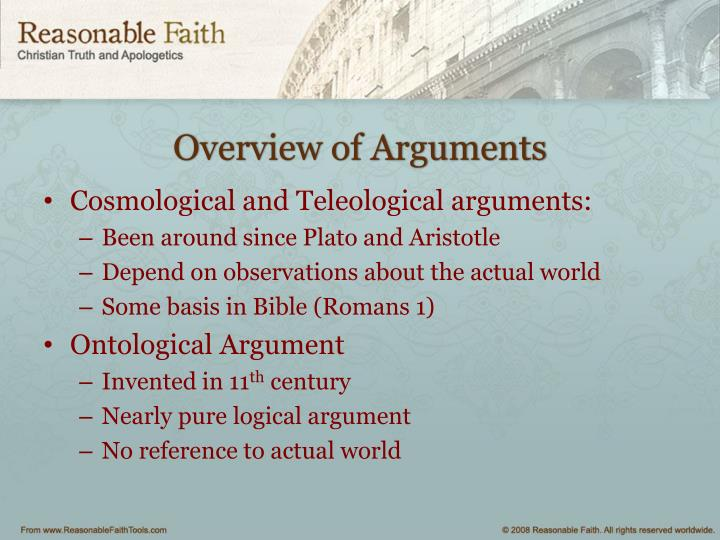 Overview of Arguments