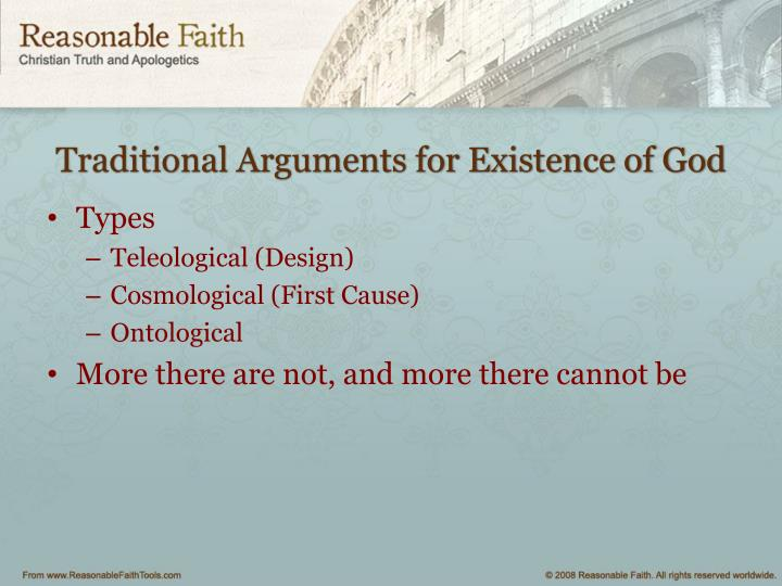 Traditional Arguments for Existence of God