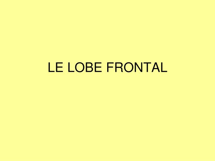 LE LOBE FRONTAL
