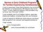 barriers to early childhood programs for families experiencing homelessness