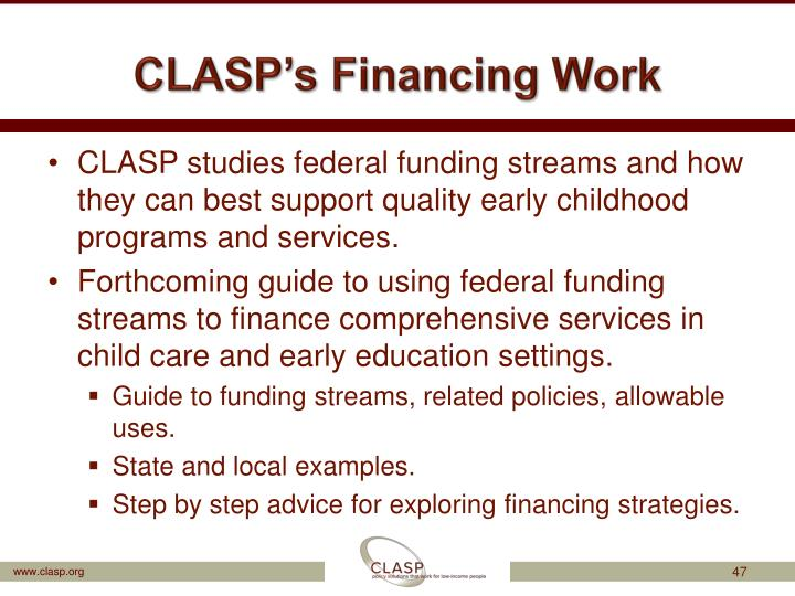CLASP's Financing Work