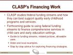 clasp s financing work