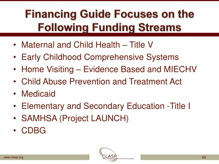 Financing Guide Focuses on the Following Funding Streams