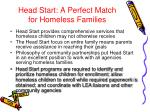 head start a perfect match for homeless families