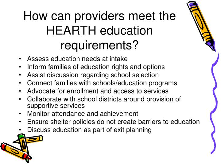 How can providers meet the HEARTH education requirements?