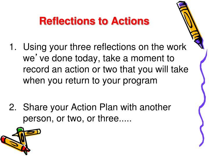 Reflections to Actions
