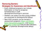 removing barriers strategies for awareness and identification1