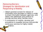 removing barriers strategies for identification and responding to mobility