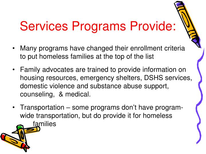 Services Programs Provide: