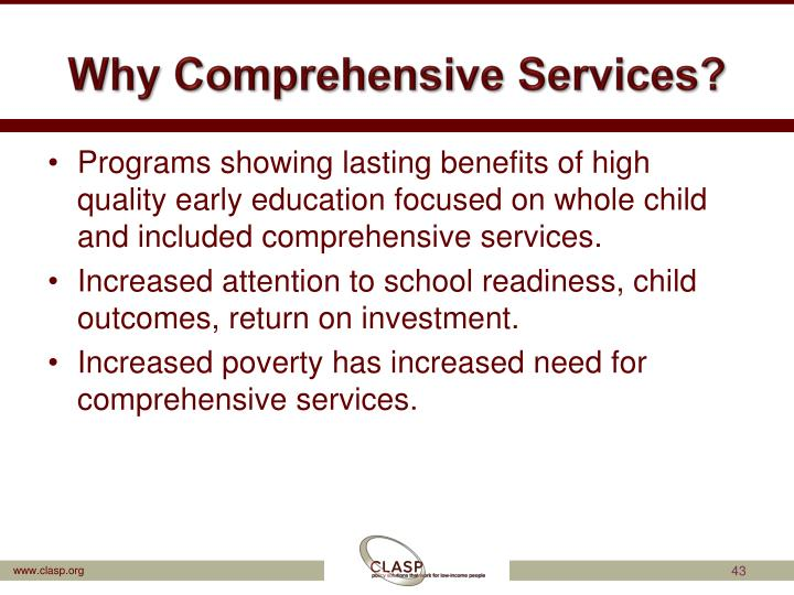 Why Comprehensive Services?