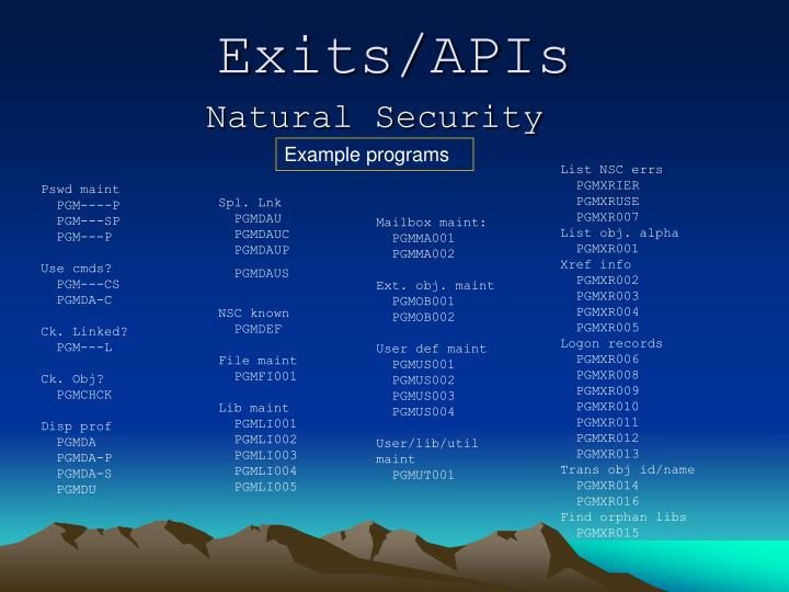 Exits/APIs