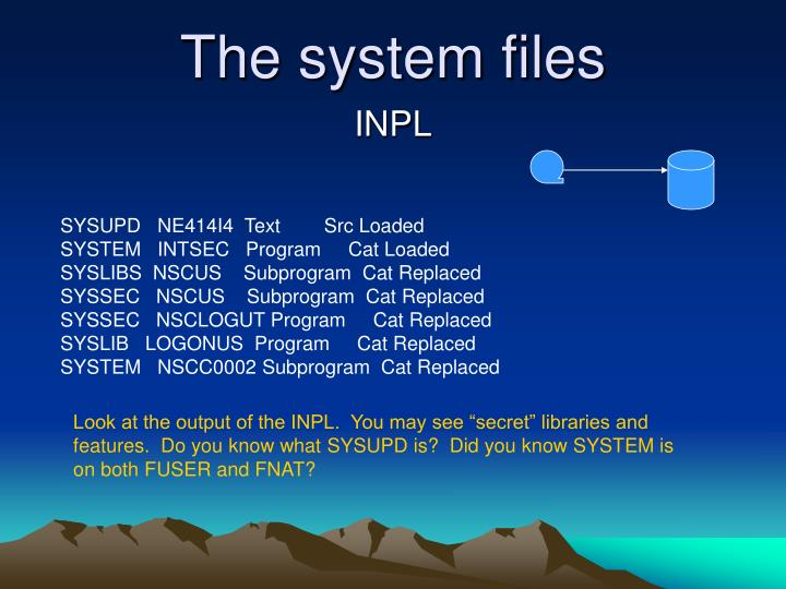 The system files