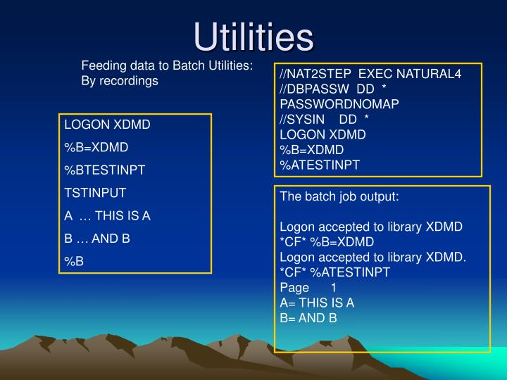 Feeding data to Batch Utilities: