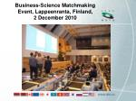business science matchmaking event lappeenranta finland 2 december 2010