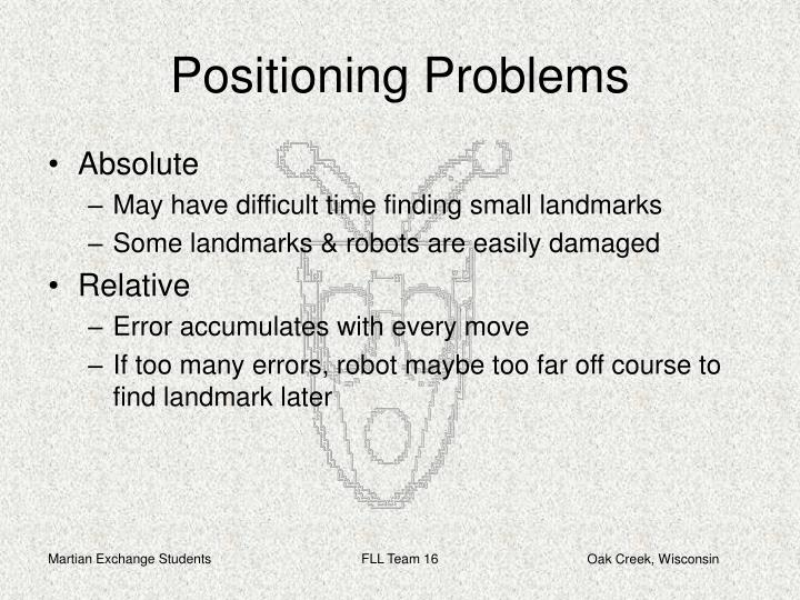 Positioning problems