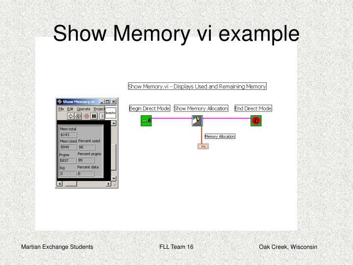 Show Memory vi example
