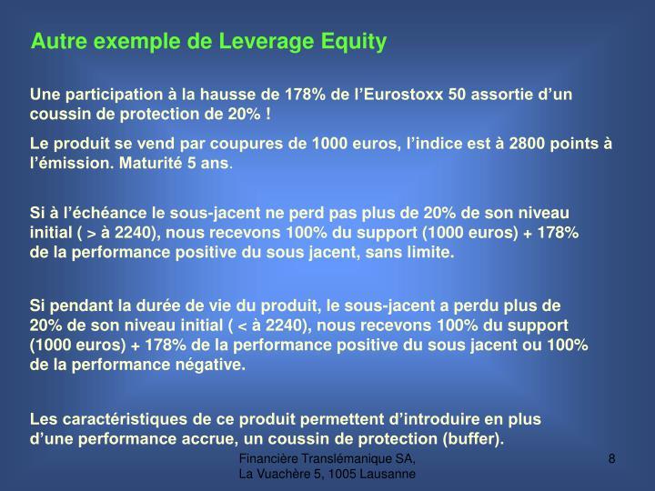 Autre exemple de Leverage Equity