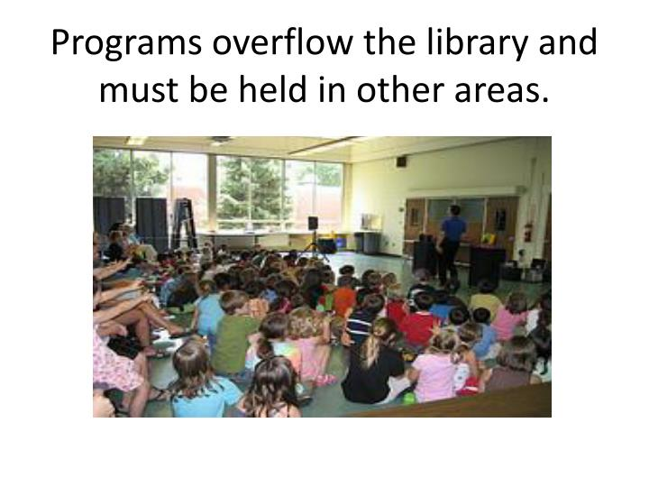 Programs overflow the library and must be held in other areas.