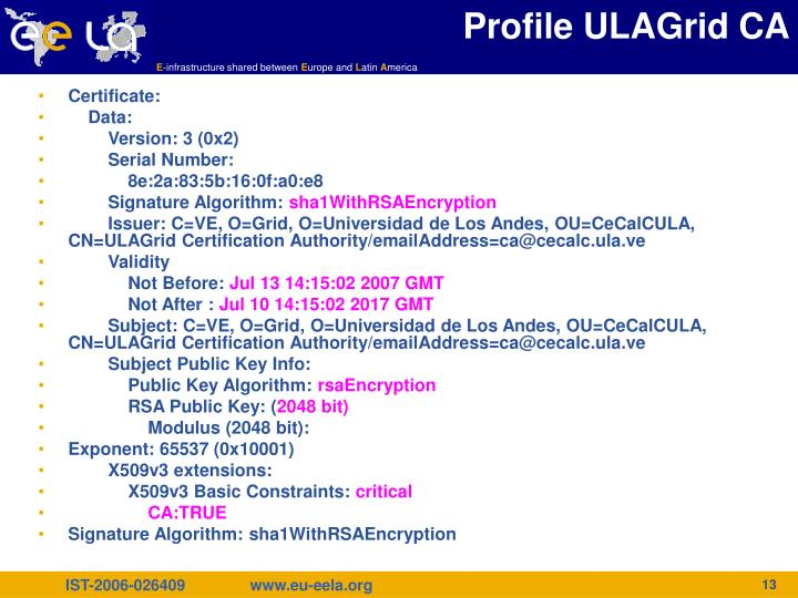 Profile ULAGrid CA