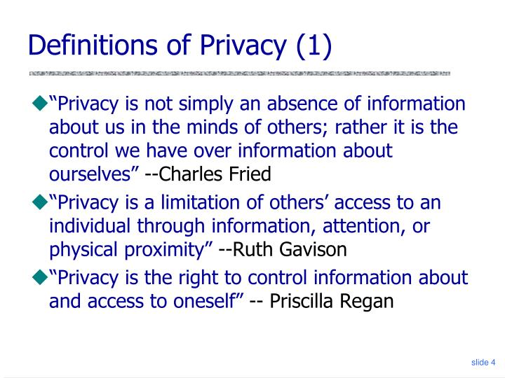 Definitions of Privacy (1)