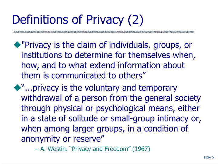 Definitions of Privacy (2)
