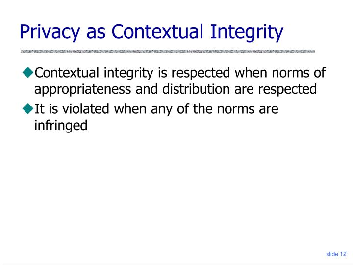 Privacy as Contextual Integrity