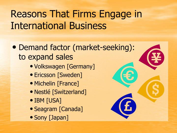 reasons for international trade You were redirected because the question why do companies engage in international trade was merged with this question  reasons for international trade .
