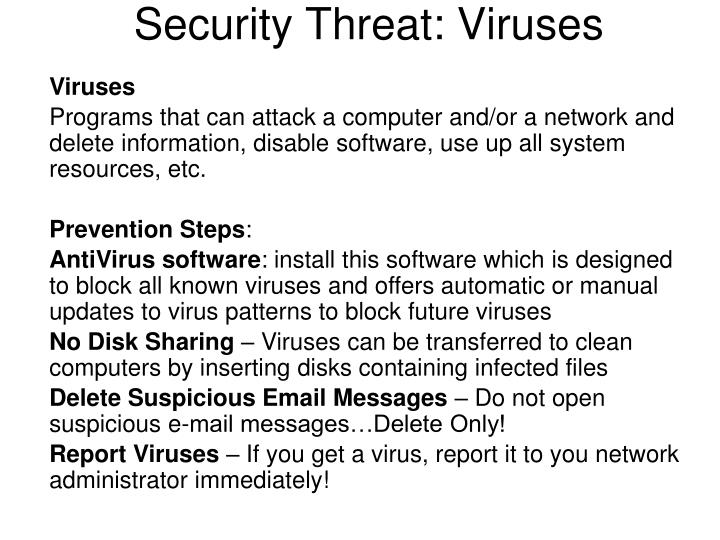 Security Threat: Viruses